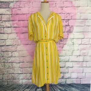 Vintage Maggy London yellow w/green stripes dress